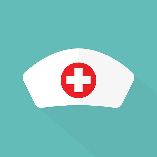 nurse hat flat design - nurse stock illustrations, clip art, cartoons, & icons