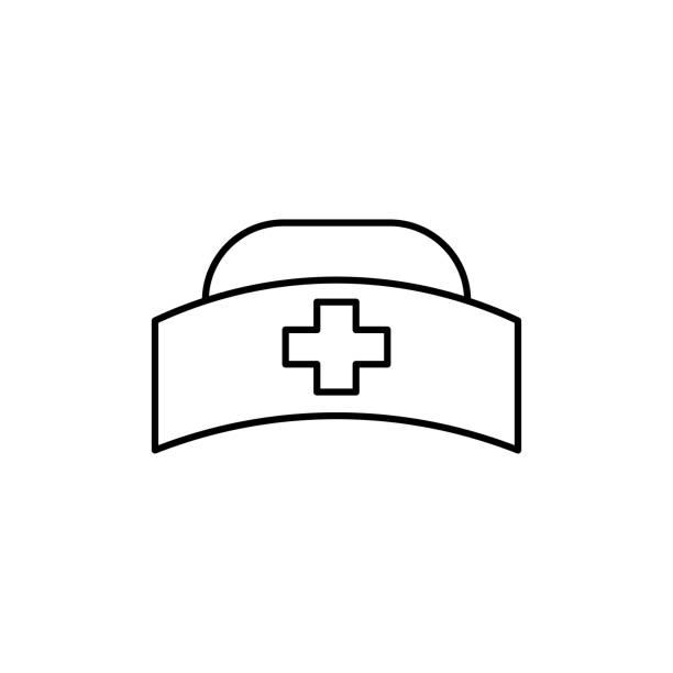 nurse hat icon vector art illustration