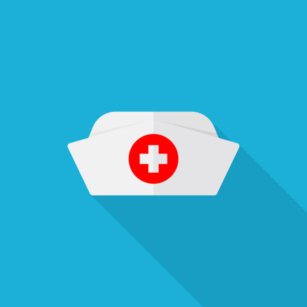 nurse hat icon with long shadow on blue background, flat design style - nurses stock illustrations