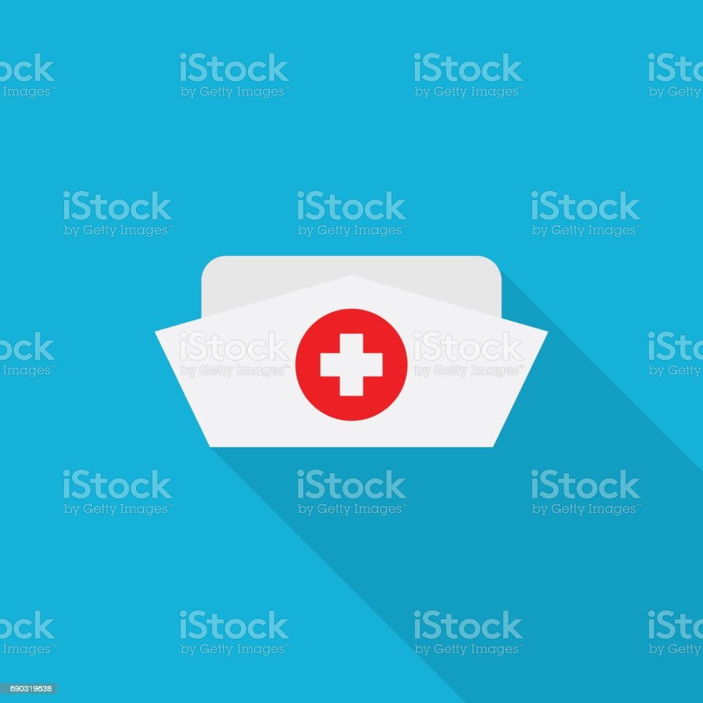 Nurse hat icon with long shadow on blue background, flat design style vector art illustration