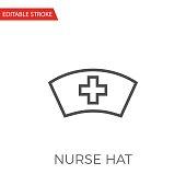 Nurse Hat Thin Line Vector Icon.