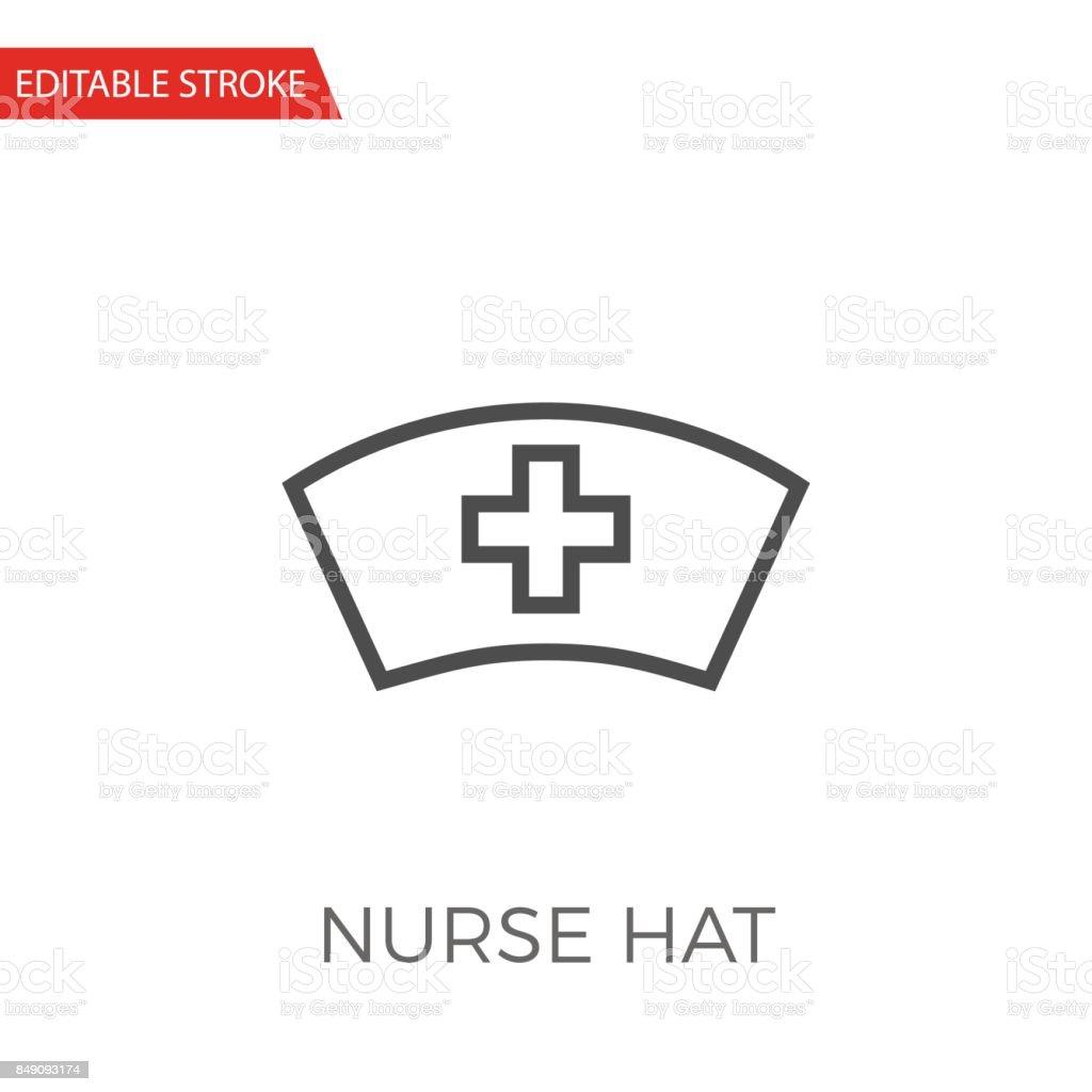 Krankenschwester Hat dünne Linie Vektor Icon. – Vektorgrafik