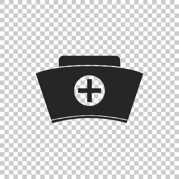 stockillustraties, clipart, cartoons en iconen met verpleegkundige muts met kruis pictogram geïsoleerd op transparante achtergrond. medisch verpleegkundige cap teken. platte ontwerp. vectorillustratie - flat cap