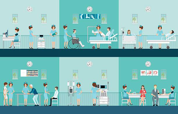 Nurse health care decorative icons set with patients - ilustração de arte em vetor