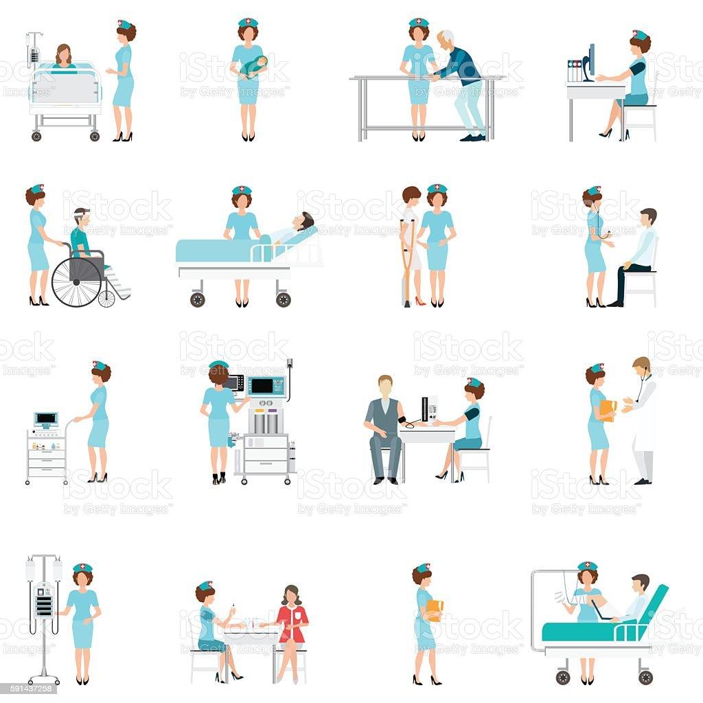 Nurse healthcare decorative icons set with patients. - ilustración de arte vectorial