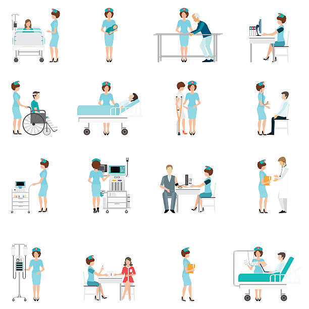 ilustraciones, imágenes clip art, dibujos animados e iconos de stock de nurse healthcare decorative icons set with patients. - geriatría