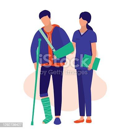 istock Nurse Helping A Injury Man To Walk. Medical & Accident Concept. Vector Illustration Flat Cartoon. 1292736427