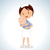 Vector illustration of a maternal nurse take care of the baby boy.