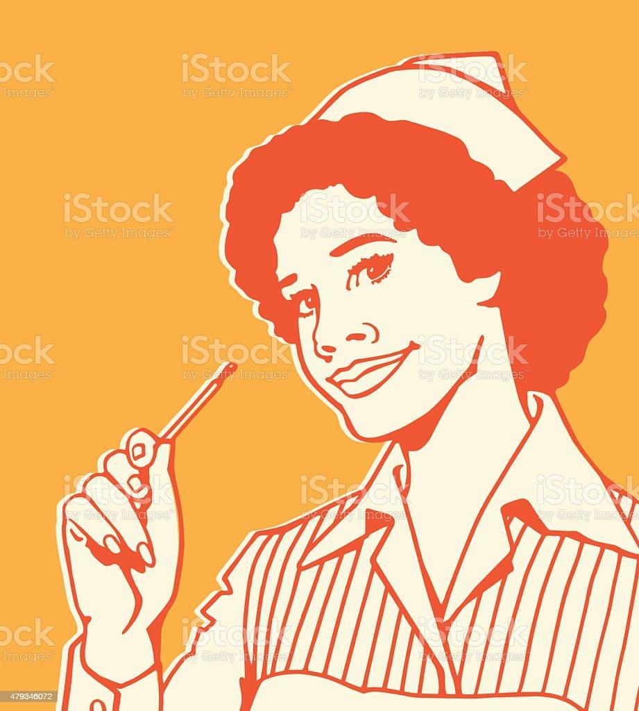 Nurse Holding Thermometer vector art illustration
