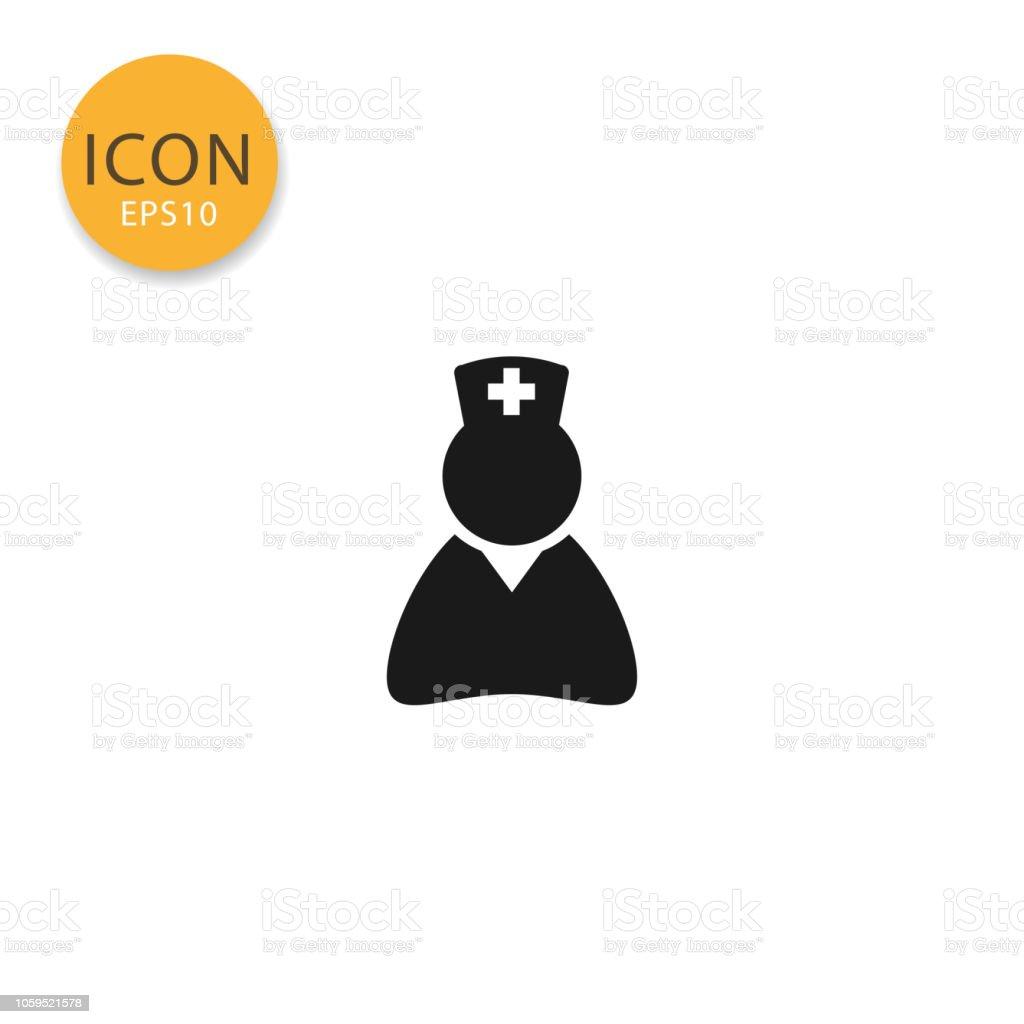 Krankenschwester-Symbol isoliert flachen Stil. – Vektorgrafik