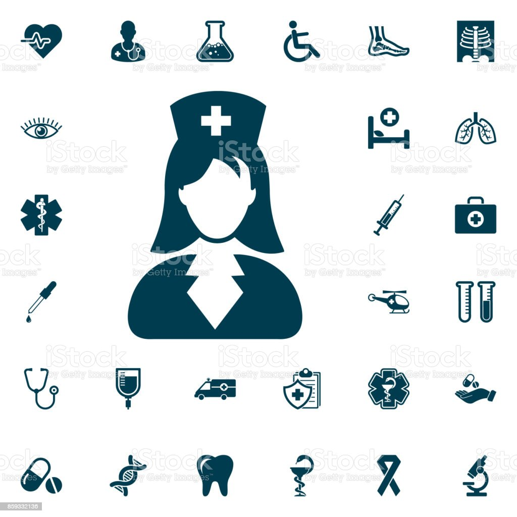 nurse icon, medical set on white background. Health Care Vector illustration vector art illustration