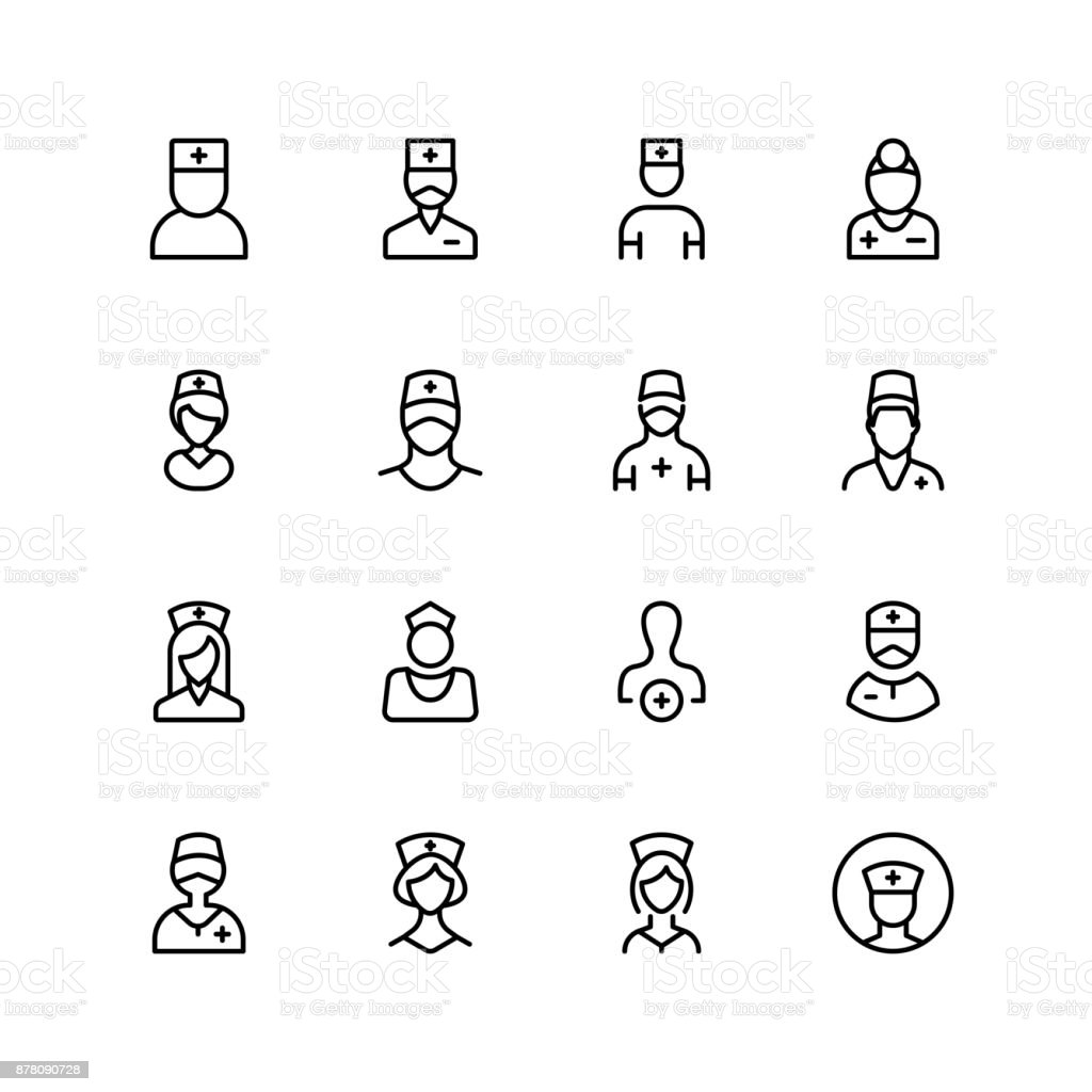 Nurse icon set. vector art illustration