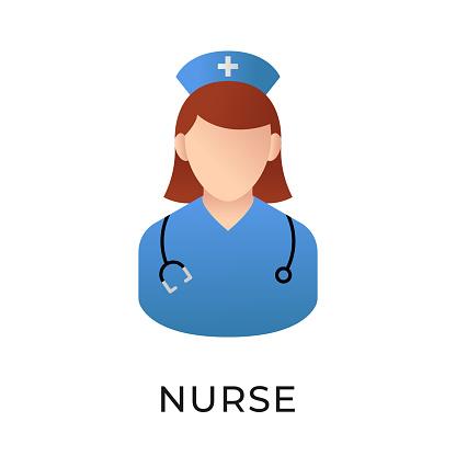 Nurse icon vector illustration. Medical Nurse vector illustration template. Nurse icon design isolated on white background. Nurse vector icon flat design for website, logo, sign, symbol, app, UI.