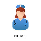 istock Nurse icon vector illustration. Medical Nurse vector illustration template. Nurse icon design isolated on white background. Nurse vector icon flat design for website, logo, sign, symbol, app, UI. 1223734841