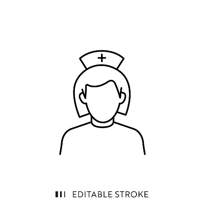 Nurse Icon with Editable Stroke and Pixel Perfect.