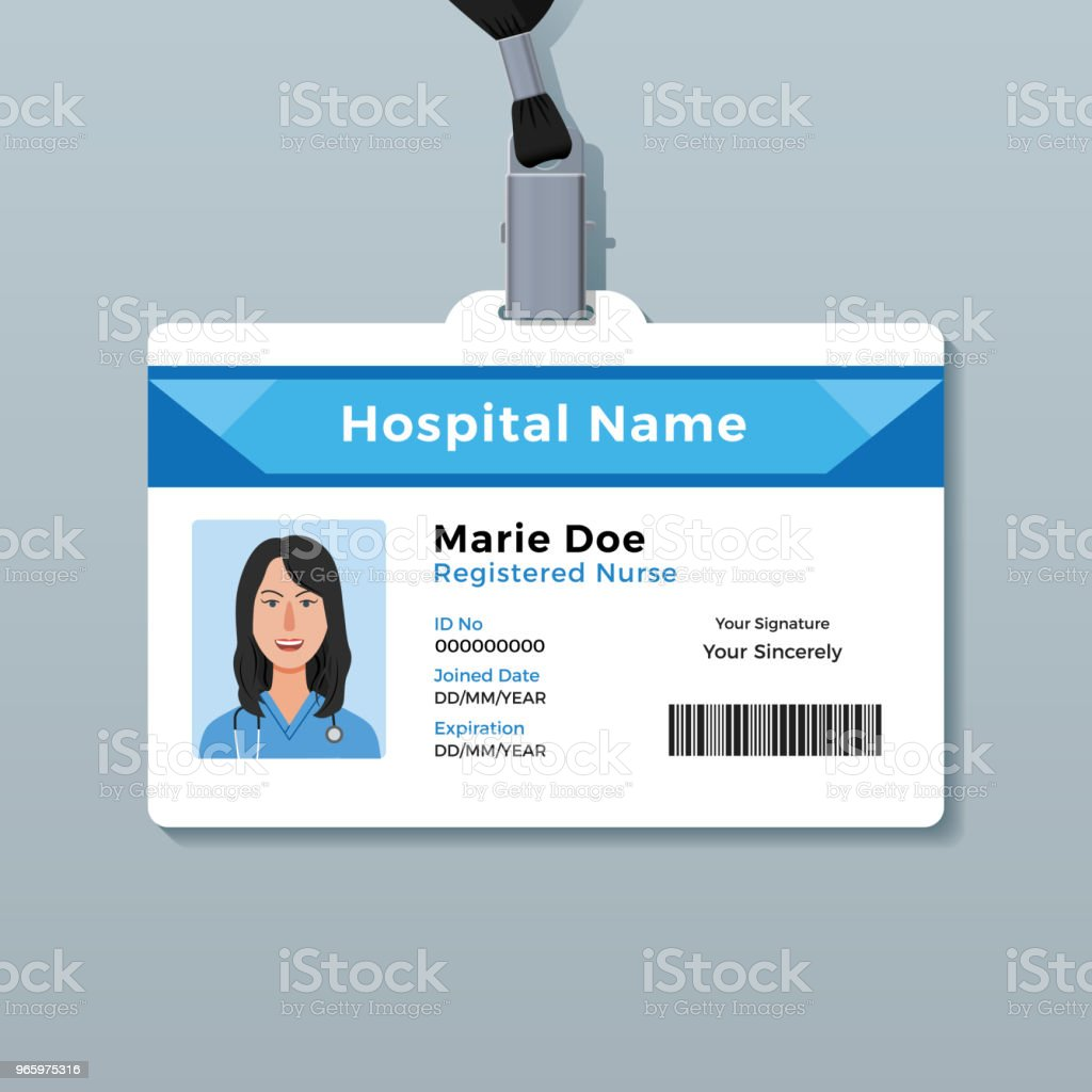 Nurse ID card. Medical identity badge template vector art illustration