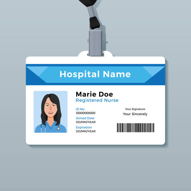 Nurse ID card. Medical identity badge template Creative identity card design id card stock illustrations