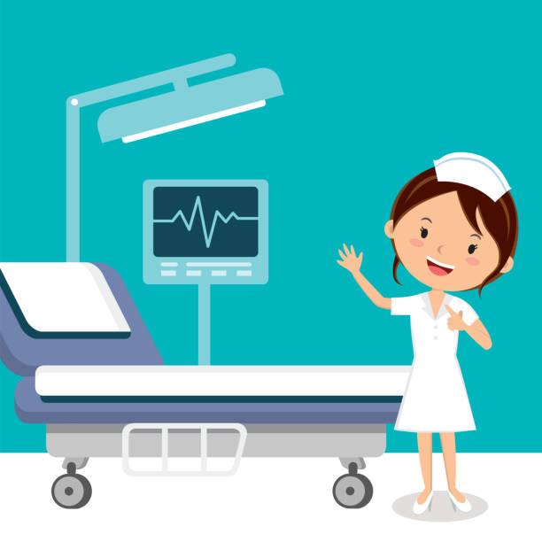 ilustrações, clipart, desenhos animados e ícones de enfermeira na enfermaria do hospital - enfermeira