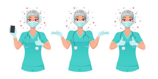krankenschwester in maske, mütze und handschuhen zeigt smartphone-bildschirm, daumen hoch, achselzucken. schutz vor coronavirus. vektorsatz. - smartphone mit corona app stock-grafiken, -clipart, -cartoons und -symbole