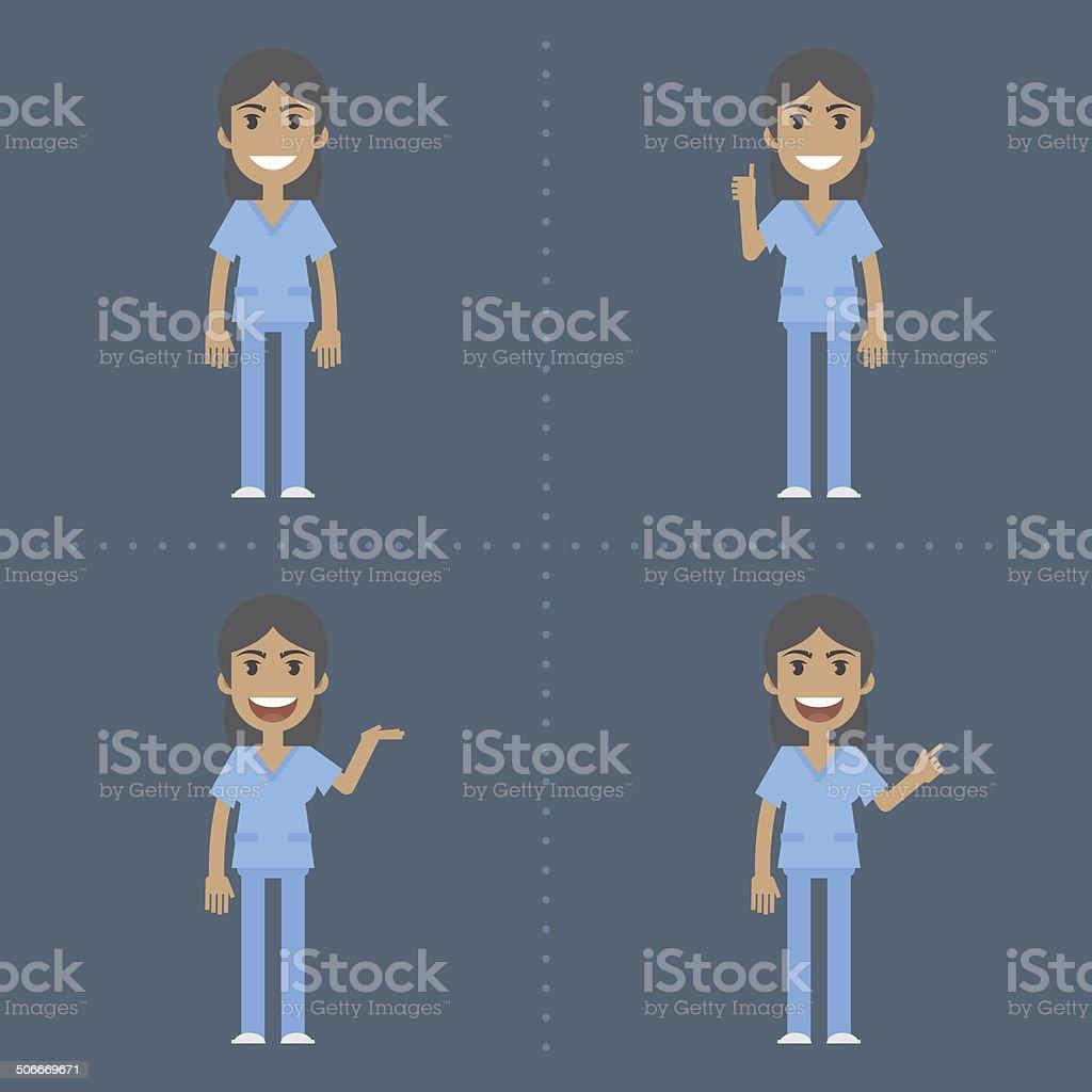 Krankenschwester gibt in verschiedenen Posen – Vektorgrafik