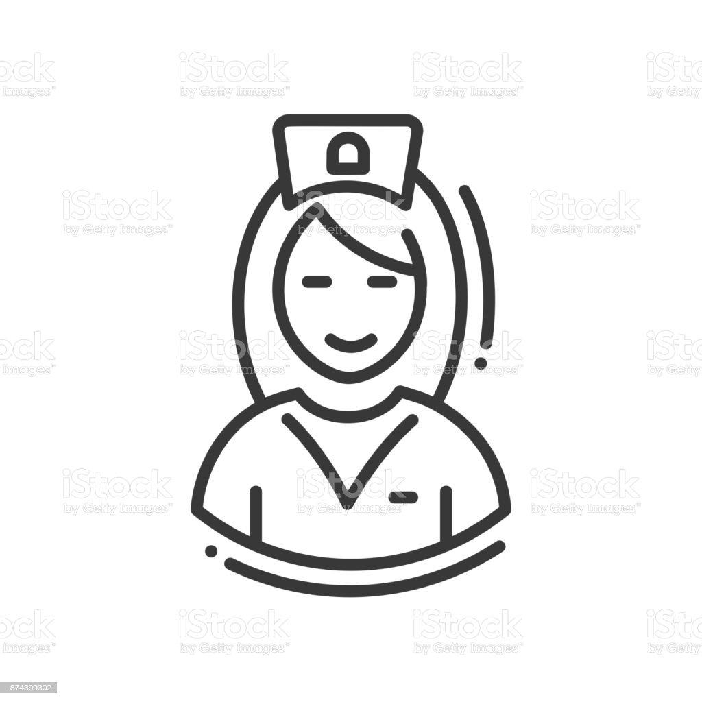 Krankenschwester - Linie einzelne isolierte Designikone – Vektorgrafik
