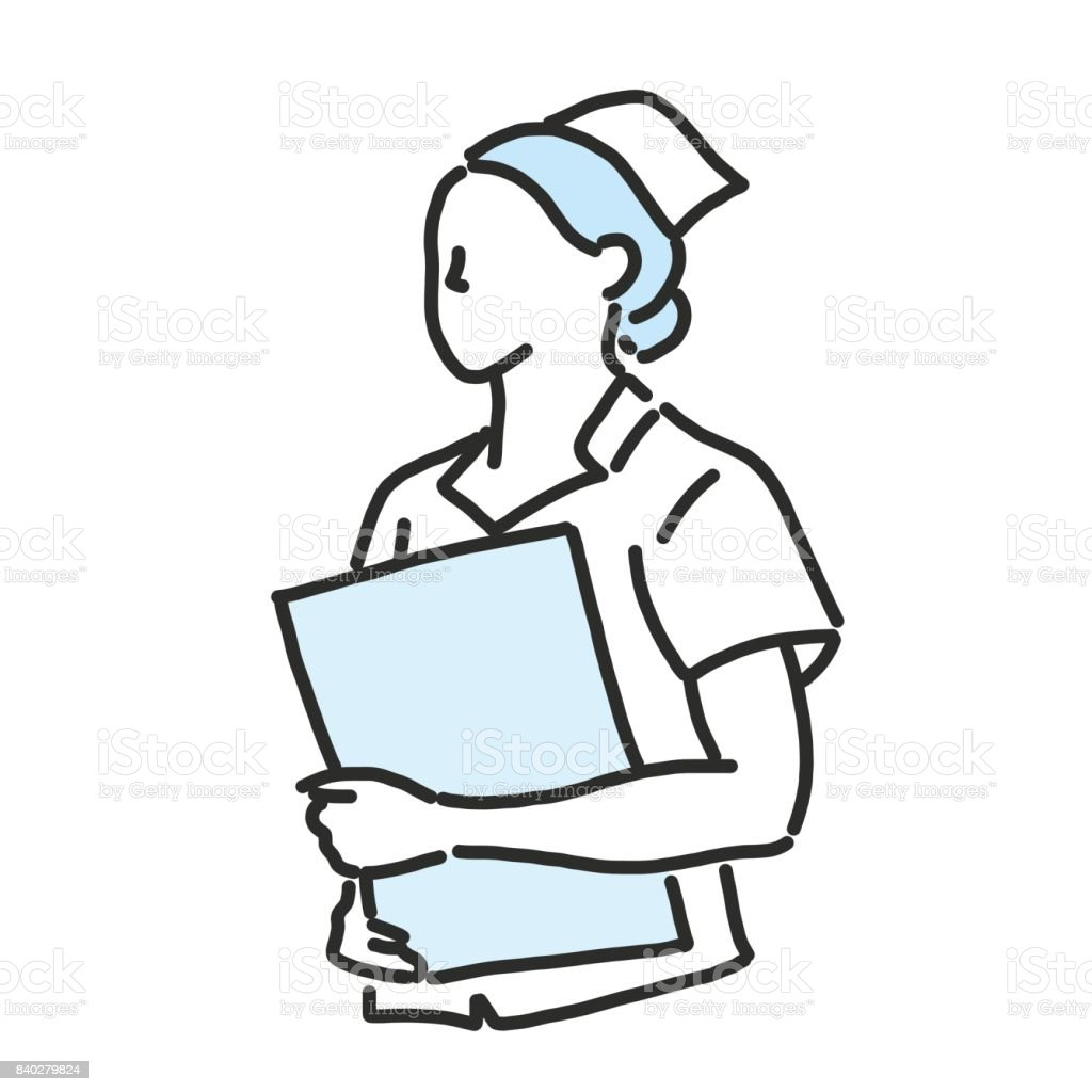 Line Drawing Nurse : Nurse line drawing and hand drawn vector illustration