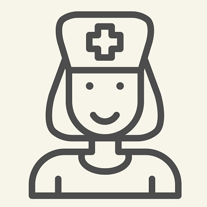 Nurse line icon. Medical assistant with stethoscope and cap outline style pictogram on white background. Medical and Healthcare signs for mobile concept and web design. Vector graphics.