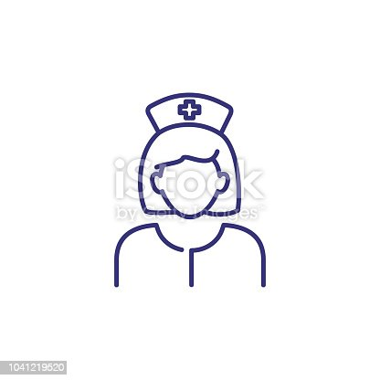 Nurse line icon. Woman in medical uniform and cap. Occupation concept. Can be used for topics like medicine, hospital, clinic, medical assistance