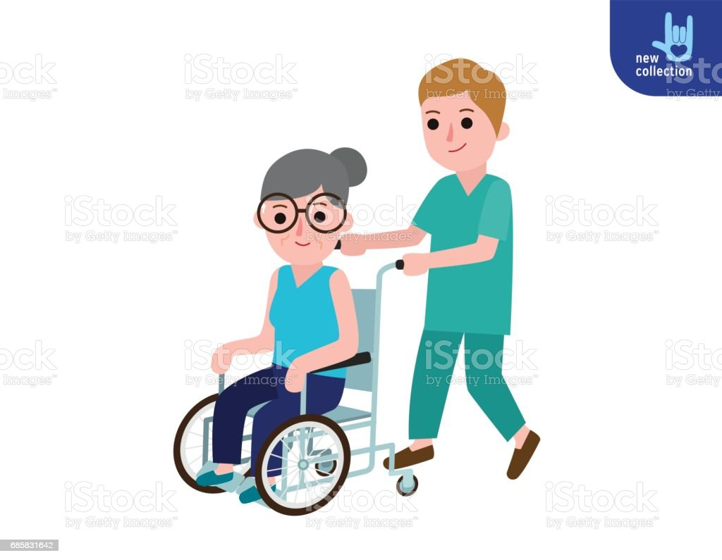 Nurse man on a walk with disabled grandmother in a wheelchair. Caring for elderly. Old woman Patient. Medicine staff. Healthcare concept. Vector flat cartoon character design illustration Isolated - ilustração de arte em vetor