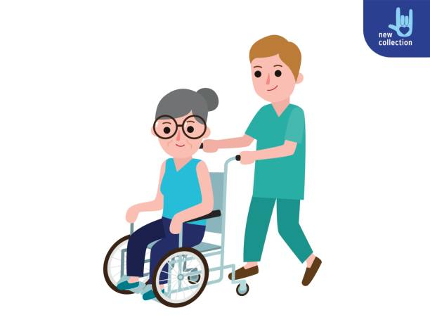Nurse man on a walk with disabled grandmother in a wheelchair. Caring for elderly. Old woman Patient. Medicine staff. Healthcare concept. Vector flat cartoon character design illustration Isolated - ilustración de arte vectorial