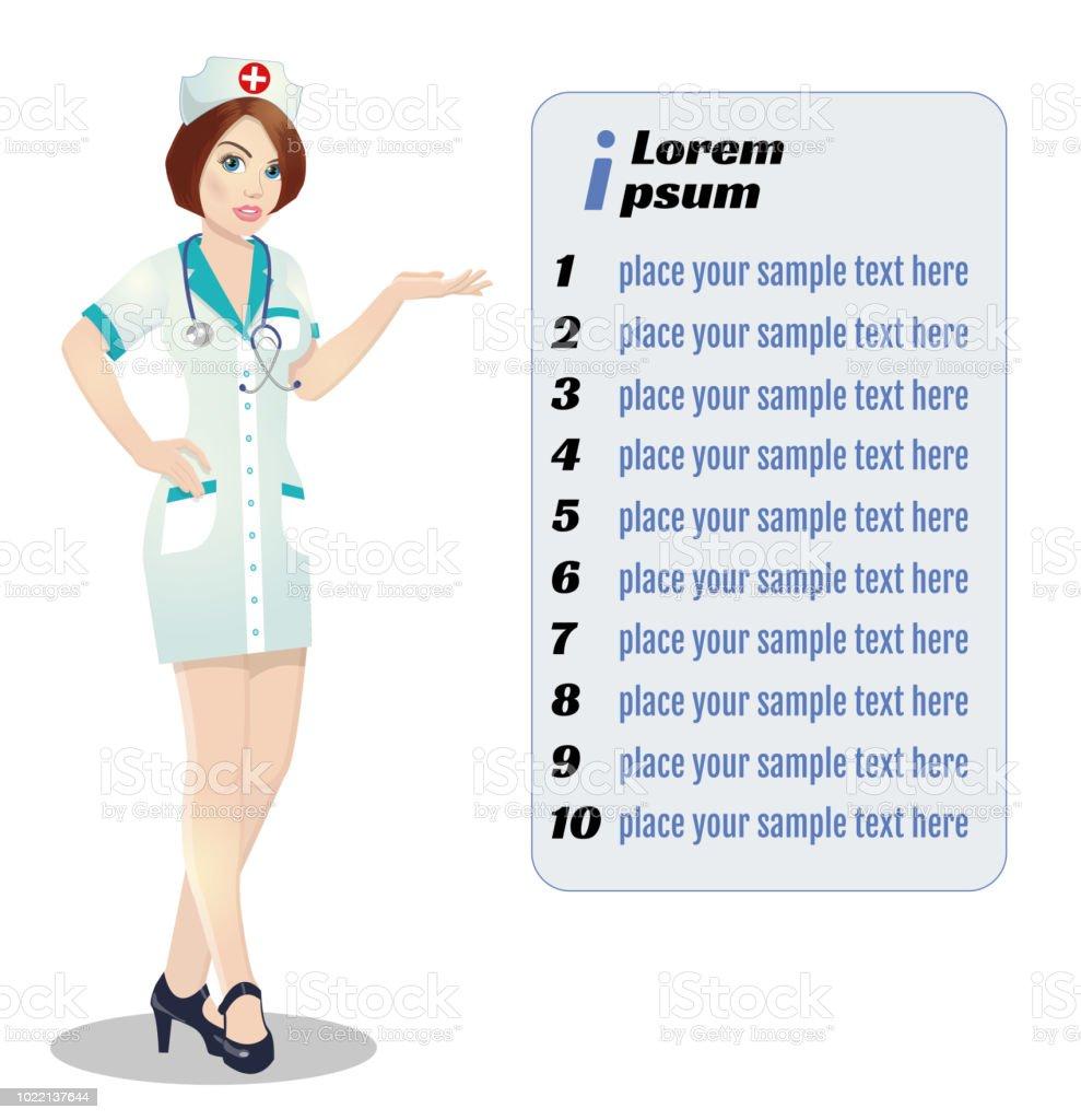 Krankenschwester auf Präsentation. Krankenschwester mit Zwischenablage, medizinischen Vortrag. – Vektorgrafik