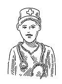 Nurse Portrait Drawing