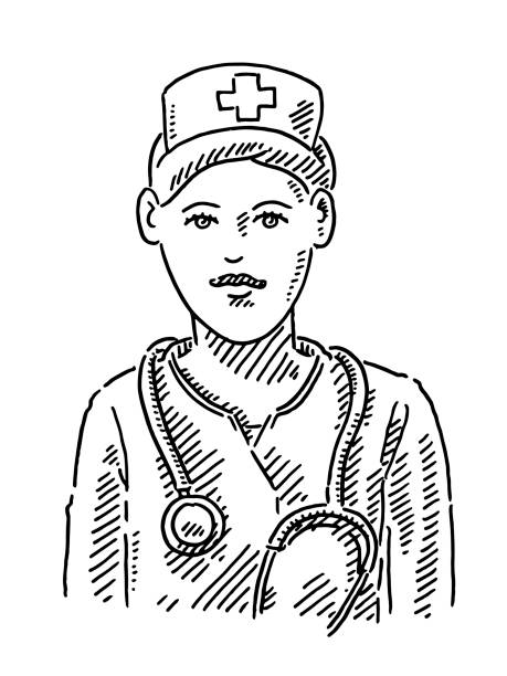 Nurse Portrait Drawing Hand-drawn vector drawing of a Nurse Portrait. Black-and-White sketch on a transparent background (.eps-file). Included files are EPS (v10) and Hi-Res JPG. women stock illustrations