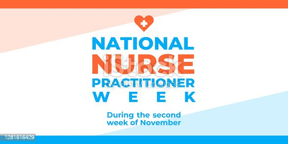 Nurse practitioner week. Vector banner, poster, card for social media with the text National nurse practitioner week. Second week of november