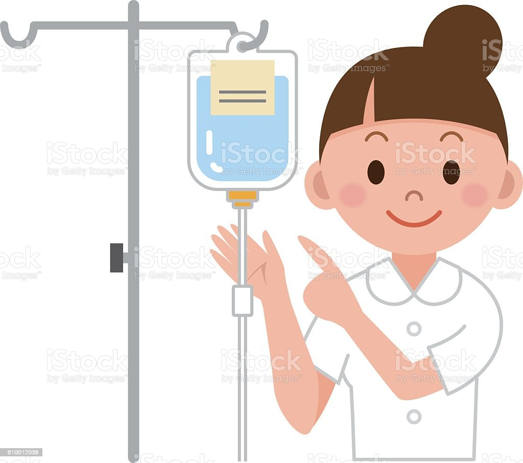 Nurse preparing IV drip vector art illustration