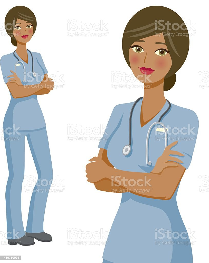 Nurse Professional Woman Icons, Full Body and Waist Up vector art illustration