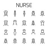 Nurse related vector icon set.