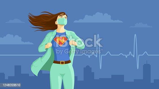 istock Nurse revealing her superhero emblem underneath her coat 1248203510