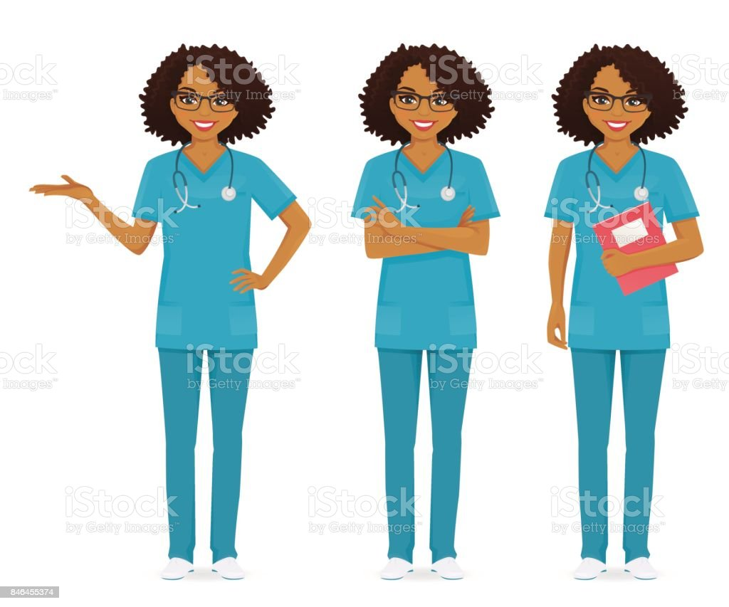 Nurse set black vector art illustration