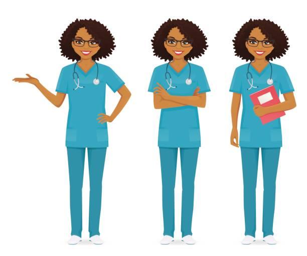 nurse set black - nurse stock illustrations