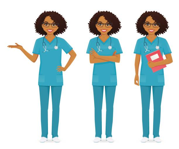 Nurse set black Nurse set black in different poses set vector illustration nurse stock illustrations