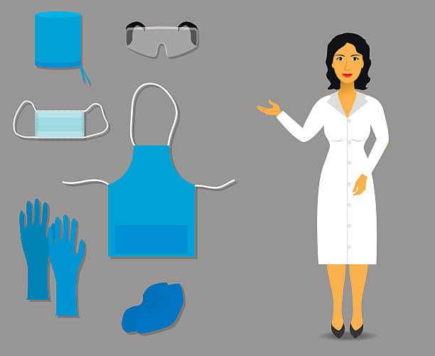 Nurse shows Medical clothing and accessories for work Nurse shows Medical clothing and accessories for work. vector protective workwear stock illustrations