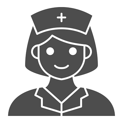 Nurse solid icon, Medical tests concept, Female Physician sign on white background, Woman Doctor icon in glyph style for mobile concept and web design. Vector graphics.