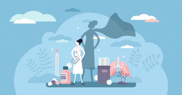 Nurse super hero concept, flat tiny person vector illustration vector art illustration