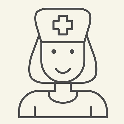 Nurse thin line icon. Medical assistant with stethoscope and cap outline style pictogram on white background. Medical and Healthcare signs for mobile concept and web design. Vector graphics.