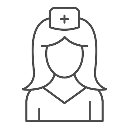 Nurse thin line icon, medicine concept, medical staff sign on white background, woman in medical uniform icon in outline style for mobile concept and web design. Vector graphics.