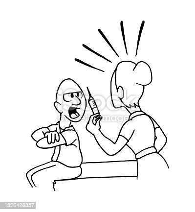 Nurse trying to give an injection, vaccine to an angry and complaining patient. Humorous cartoon style vector illustration.