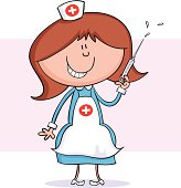 Cute drawing of a nurse with syringe.