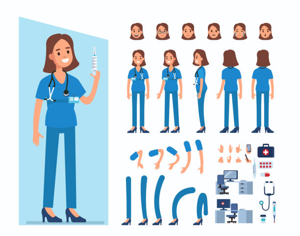 krankenschwester - pflegekraft stock-grafiken, -clipart, -cartoons und -symbole