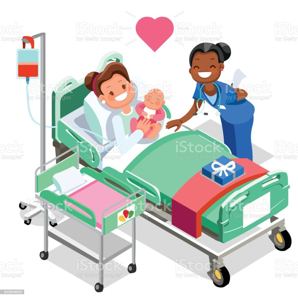 Nurse with Baby Doctor or Nurse Patient Isometric People Cartoon vector art illustration